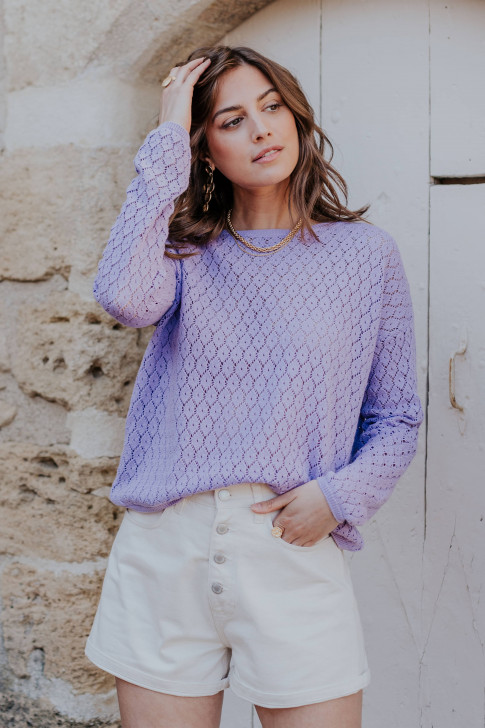 Reversible lilac Flore sweater