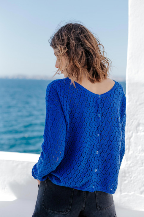 Reversible blue Flore sweater