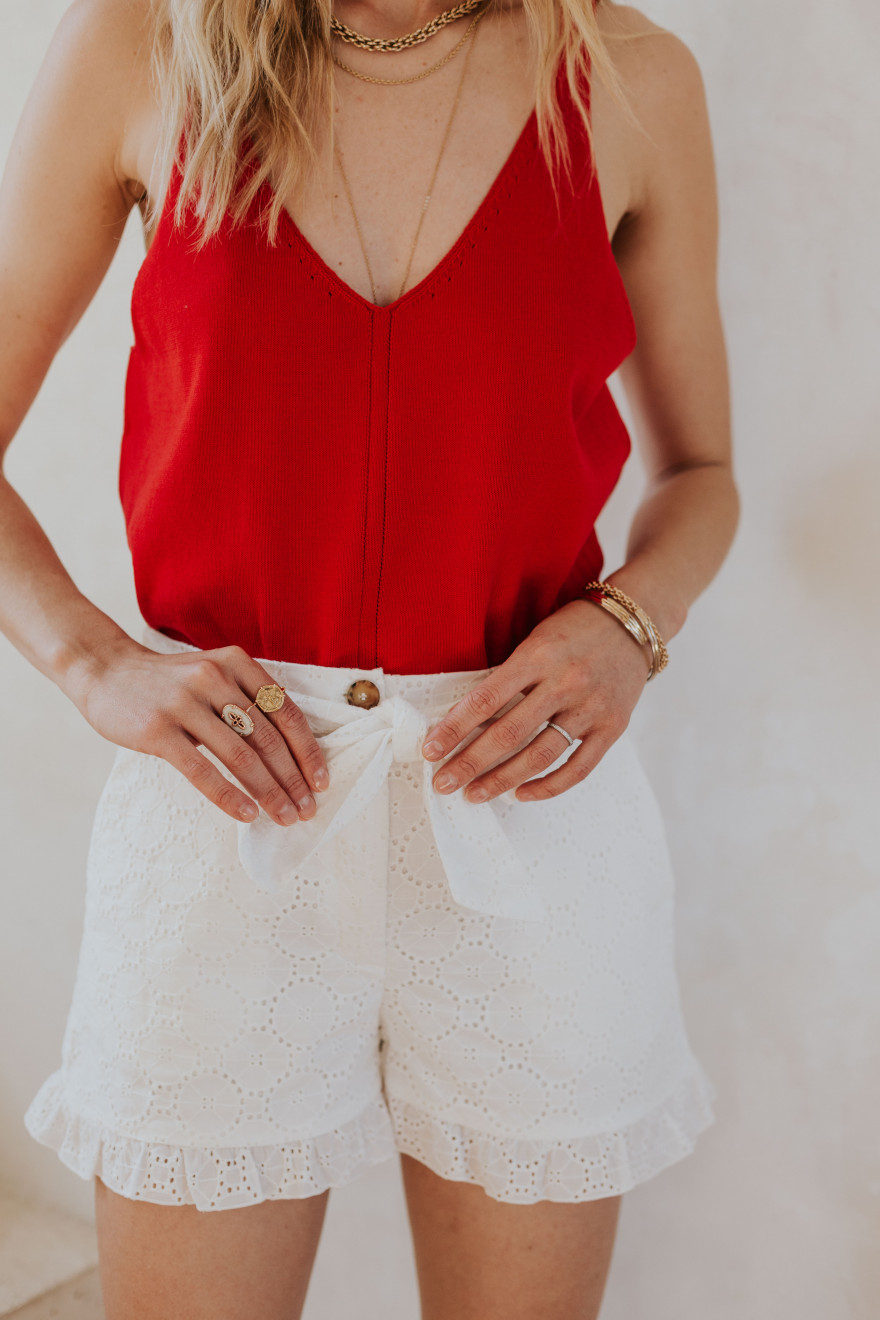 White Tom shorts with English embroidery